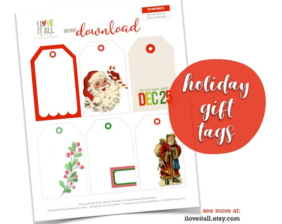 Christmas Gift Tags, Dec 25, Candy Cane Tag, Christmas Floral, Santa, Santa Claus, Gift Packaging, Gift Tags, Journaling Card, Christmas Tag