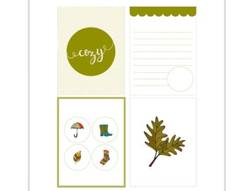 Cozy, Journaling Cards, Tip Ins, Umbrella, Fall Leaves, Pocket Scrapbooking, Pocket Pages, Rain Boots, Knit Socks, Socks, Hand lettering