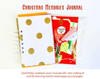 Christmas Holiday Junk Journal Album, Gold Glitter, Red Damask, Christmas Junk Journal, Lists Journal, 30Lists, Mixed Papers Mini Book Album