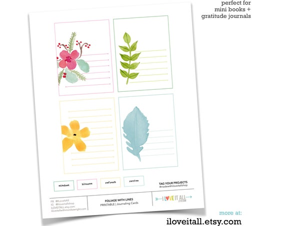 Foliage, Flowers, Refresh, Revive, Blossom, Mindset, Journaling Prompts, Floral Card, Instant Download, Lined, Pocket Card, Scrapbooking