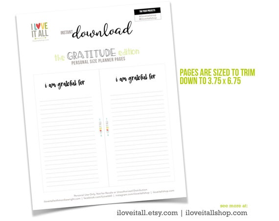 Printable Gratitude Page, PDF Planner Pages, I Am Grateful, Gratitude Journal, Filofax, Personal Size, Minimalist Planner, Planner Download