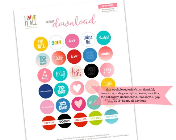 Printable 1 Inch Circles, Planner Supplies, Journaling, Scrapbooking, Card Making, Round Journaling Spots, Colorful Circles, Word Phrases