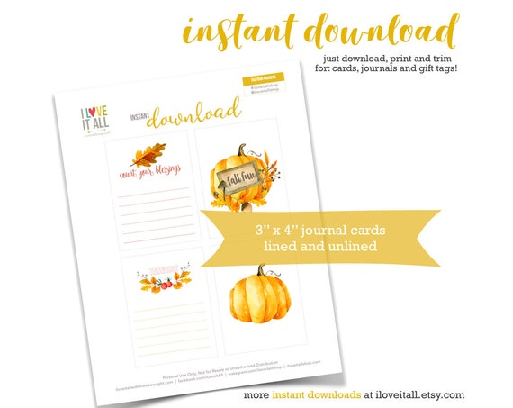 Count Your Blessings, Printable Fall Ephemera, Fall Fun, Harvest, Pumpkin, Leaves, Autumn, Fall, Journaling Cards, Junk Journal Supplies