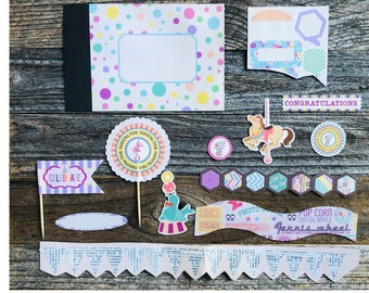Junk Journal Kit, Set 3, Smashbook, Junque Journal, Mini Album, Mini Book, Scrapbook, Loose Paper, Journaling Cards, Project Cards, Circus