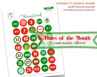 Red and Green Number Rounds, December Daily Supplies, Dated Printable, One Inch Printable Numbers, Colorful Numbers, Paper Number Ephemera