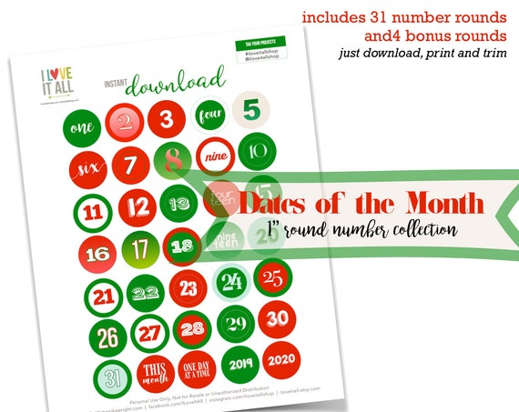 Christmas, Holiday Printable, December Daily, Dates, Monthly Dates, This Month, 2019, 2020, One Inch, Colorful Numbers, Number Ephemera