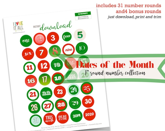December Daily, Dates of the Month, Monthly Dates, This Month, 2019, 2020, One Inch, Colorful Numbers, Number Ephemera, Instant Download