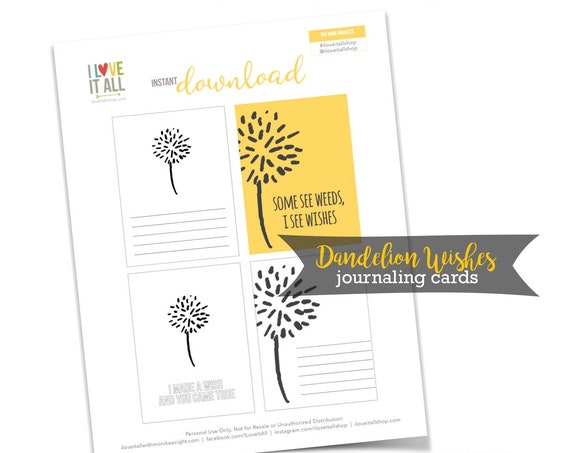 Dandelion Wishes, Journaling Cards, Romantic, I Made A Wish And You Came True, Yellow, Journaling Cards, Cardmaking, Scrapbooking,