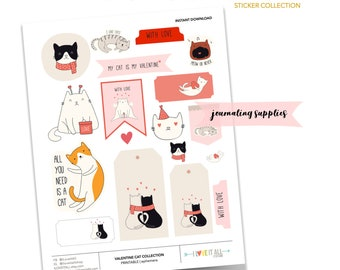 Valentine Day Cat Stickers, I Love Cats Printable Ephemera Collection, I Love Cats Doodle Stickers, My Cat is My Valentine, Cat Love