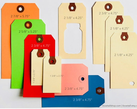 Shipping Tags, Colorful, Rainbow Collection, Red,Green, Blue, Pink, Manila, Mixed Media, Planner Supplies, Gift Tags, Tag, Hang Tag, Labels