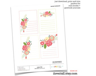 Printable Journaling Spot, Pink and Coral Flower, Journal Supply, Journaling Card, Journal Card, Soft Floral, Printable Card