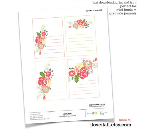 Printable Journaling Spot, Pink and Coral Flowers, Journaling Supplies, Journaling Card, Journal Card, Soft Florals, Printable Card, Flowers