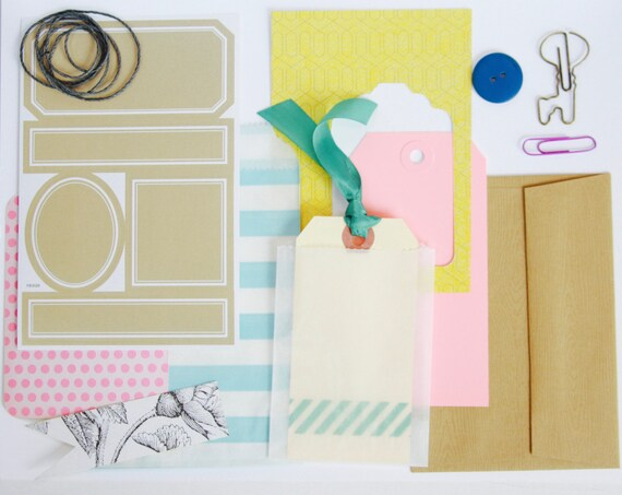 Pastel Listers Kit, Junk Journal Supplies, Planner Page Decoration, Paper Ephemera, Card Making Kit, Paper Clips, Stickers, Shipping Tag