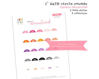 Printable 1 Inch Circles, Date Tags, Round Date Labels, Planner Supplies, Scrapbooking, Journaling Spots, Round Tags, Round Date Die Cut Tag