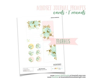 Journaling Prompts, Pink and Mint Floral Gold Foil Tags, Gold Foil Journal Cards, Pink and Mint Floral, Junk Journal List Prompts, Printable