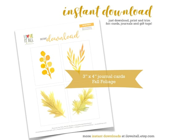 Autumn Leaves, Fall Floral, Gold, Leaf, Fall Leaves, Wheat, Orange, Journaling Cards, Pocket Scrapbooking, Pocket Pages, Digital