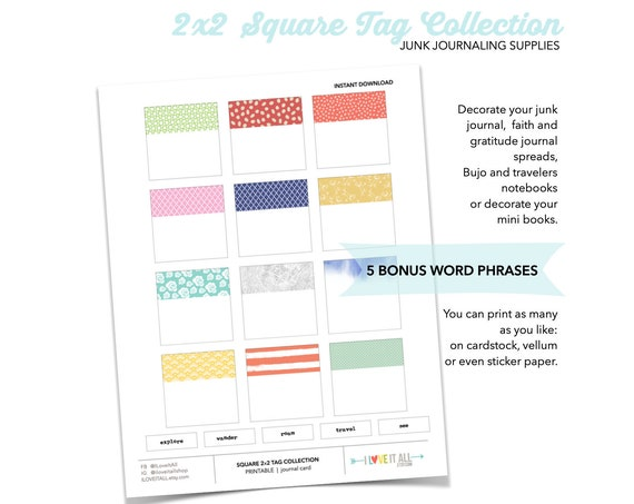 Printable Square Tag Labels Stickers, Square Sticker, Printable Sticker, Label Tags, Printable Tag Labels, Junk Journaling Supplies Download