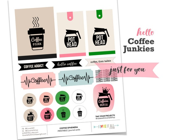 Coffee Ephemera, Coffee O'Clock, Pot Head Tag, Coffee Addict Card, Java Journaling Cards, Journal Cards, Journal Prompts, Scrapbooking