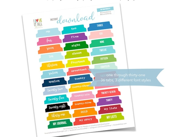 Printable Numbered Tabs, Journal Tabs, Colorful Numbered Divider Tabs, Calendar Tabs, Numbers Tabs Printable, Planner Calender Tabs Download