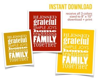 Fall Wall Art, Grateful, Autumn Art, Instant Download, Seasonal Printable Art, Home Decor, Housewarming Gift, Family Art, Thanksgiving