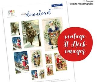 Vintage Santa, Nikolaus, St. Nick, Christmas, Paper Ephemera, Collage Art, Junk Journal Supply, Printable Ephemera, Santa Claus, Retro Santa