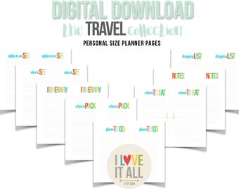 Travel Planner Insert Pages, Printable, Filofax, Personal Planner Downloads, Digital Planner Download, Sights to See, Packing List, Places