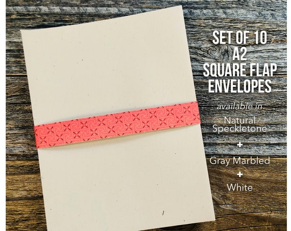 Invitation Envelope, European Square Flap Envelopes, A2 Envelopes, Gray Marbled, Parchtone, Kraft Speckletone, Natural, White Envelopes