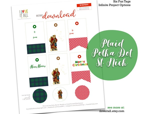 Christmas Gift Tags, Merry Christmas, Green Navy Plaid, Red Polka Dots, Happy Holidays, Santa, Santa Claus, Printable, Gift Tags, Packaging