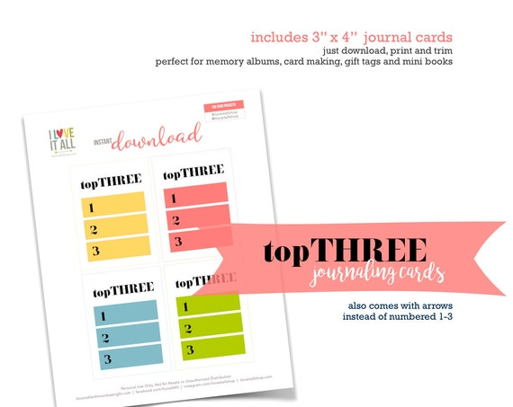Top Three List, Currently Journaling Cards, Top 3, Journaling Cards, Currently, Color Block, Lined Journal Card, Scrapbooking, Pocket Pages