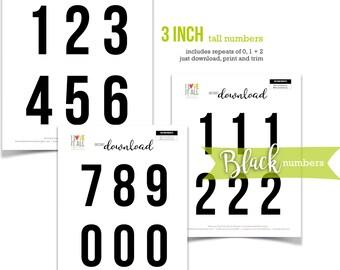 Black Numbers, Printable Numbers, Cut Apart, Number Die Cuts, Number Ephemera, Colored Numbers, Numbers, 3 Inch Numbers, Instant Download
