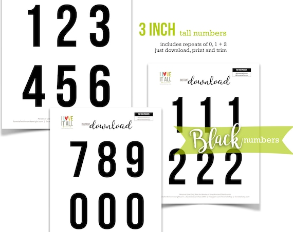 Black Numbers, Printable Numbers, Cut Apart, Number Die Cuts, Cut Out Ephemera, Colored Numbers, Numbers, 3 Inch Numbers, Instant Download