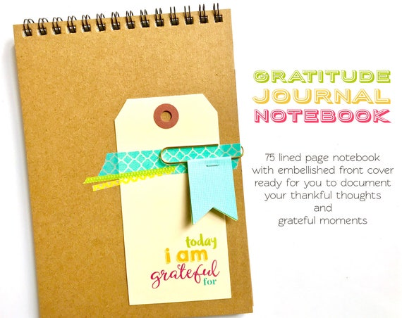 Gratitude Journal Notebook, Today I Am Grateful For, Happiness Journal, Positive Thinking,  Thankful Notebook, Blessings Book, Mindfulness