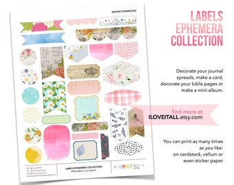 Printable Floral Ephemera, Planner Download, Junk Journaling Ephemera, Floral Prints, Journal Supply, Printable Ephemera, Journaling Spots