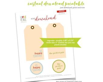 Printable Tag, Manila Tag, Junk Journaling Supplies, The Perfect Pair, So Happy Together, Journaling Spots, Scrapbooking, Tag Ephemera