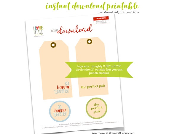 Printable Manila Tag, The Perfect Pair, So Happy Together, Tag, Tags, Scrapbook Supplies, Gift Tags, Journaling Card, Instant Download