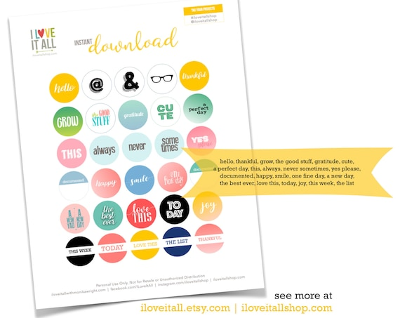Round Tags, Printable Ephemera, 1 Inch Circles, Paper Ephemera, Hello, Today, Love This, Cute, Thankful, Junk Journaling Supplies
