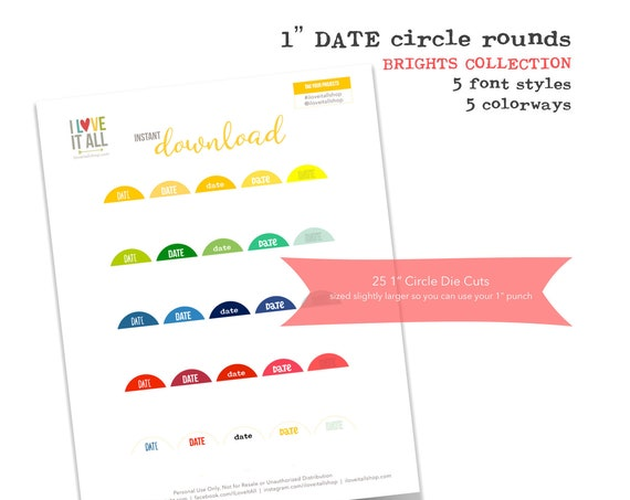 Printable 1 Inch Circles, Brights Collection, Date Tags, Planner Supplies, Journaling Spots, Scrapbooking, Round Date Tags, Instant Download