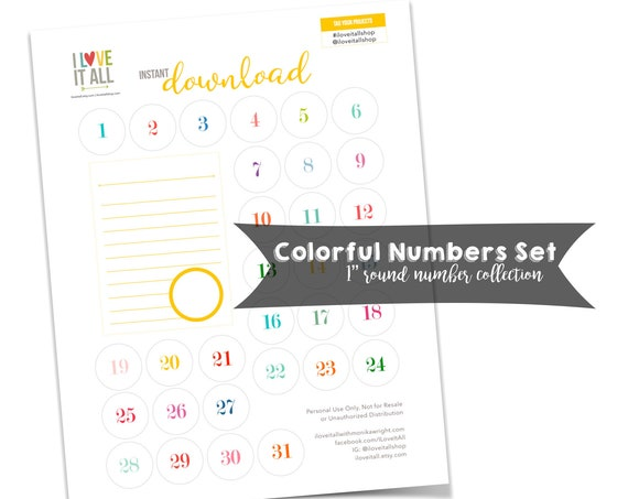 Numbers, Colorful, Number Collection, Journaling Card, Printable Numbers, Cut Apart, Round, Cut Out, Ephemera, Numbers, Instant Download