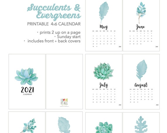 2021 Printable Calendar, Succulents and Cactus Watercolor Calendar, Instant Download, Printable Calender