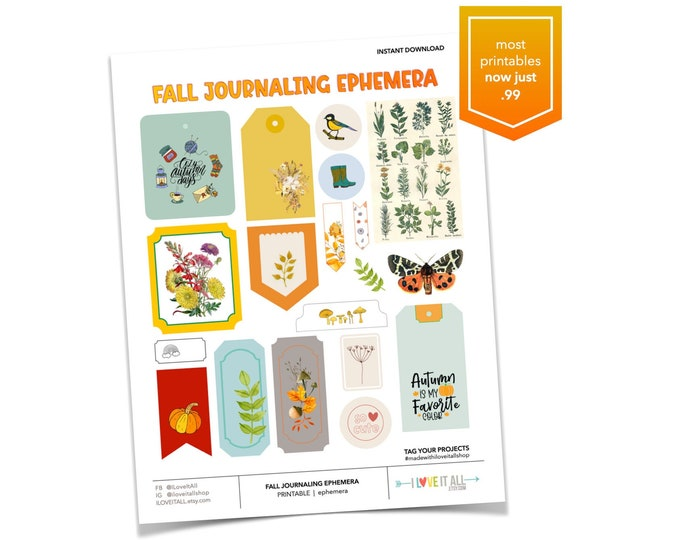 Featured listing image: Fall Journaling Ephemera, Cottagecore, Cozy Autumn Days, Junk Journal Supply, Printable Paper, Paper Dandelion Tag, Wildflower Card, Label