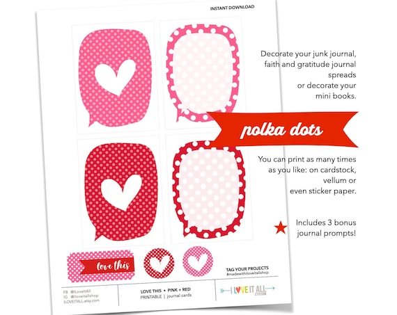 Love This Red and Pink Printable Journaling Cards, Scrapbooking Supplies, Printable Valentine Cards, Polka Dotted, Hearts, Word Bubble