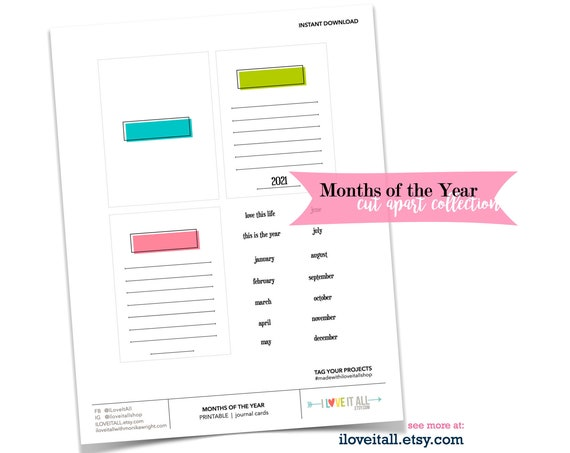 Journal Card, Monthly Lined Cards, Months of the Year, This Is the Year, Journaling Supplies, 2021 Goal Cards, 2021 Month Labels, Printable