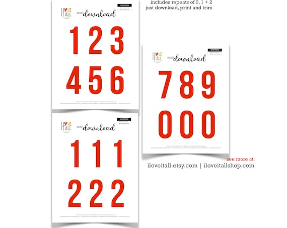 Printable Numbers, Red Numbers, Cut Apart Numbers, Cut Out Ephemera, Colored Numbers, Number Set, Numbers, 3 Inch Numbers, Instant Download