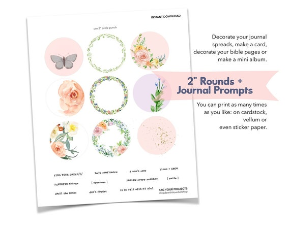 Find Your Dream, Floral, Scrapbooking, Journal Prompts, Word Phrases, Word Strips, Pink Rose, Butterfly, Sticker Set, Junk Journal Supply,