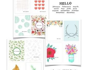 Hello Monthly Journal Card, Printable List, Paper Ephemera, Junk Journaling, Monthly Calendar Card, Goal Setting, Printable Tracker Card