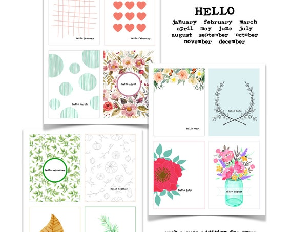 Hello Monthly Journal Cards, Hello Month Printable Cards, Paper Ephemera, Junk Journaling, Monthly Cards, Junk Journaling Supply Download