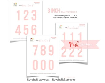 Pink Numbers, Printable Numbers, Cut Apart, Number Die Cuts, Cut Out Ephemera, Colored Numbers, Numbers, 3 Inch Numbers, Instant Download