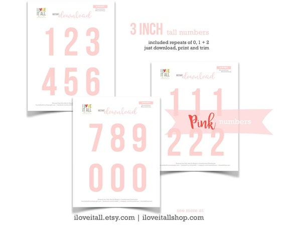 Pink Numbers, Printable Numbers, Cut Apart, Number Die Cuts, Cut Out Ephemera, Colored Numbers, Numbers, 3 Inch Numbers, Instant Download