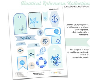 Nautical Sticker Collection, Nautical Ephemera, Sailing, Beach Vibe, Ocean and Sea, Junk Journaling Supplies, Journaling, Printable Stickers