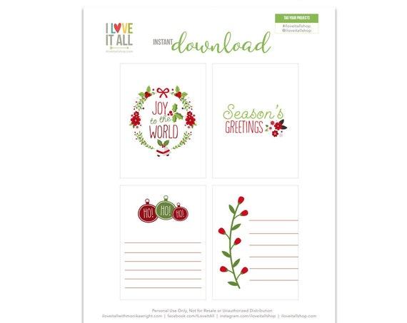 Joy To the World, Gift Tags, Ho Ho Ho, Christmas Wreath, Journaling Cards, Journal Cards, Gift Tag, Christmas Tags, Season Greetings Card